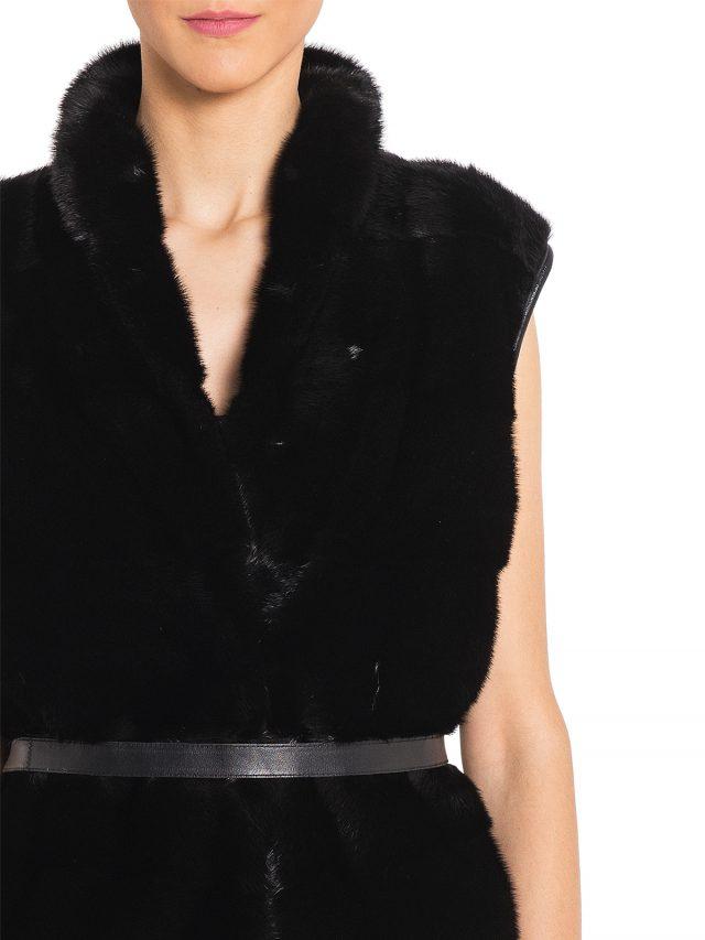 Vesta blana naturala vizon + cashmere + piele