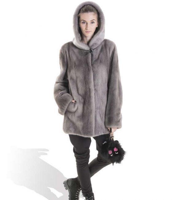 Grey Mink Long Coat with hoodie