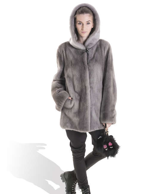 Grey Mink Long Coat with hoodie