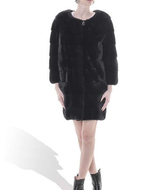 Long Mink Coat with no collar