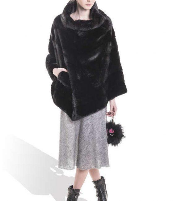 Black Mink Long Poncho