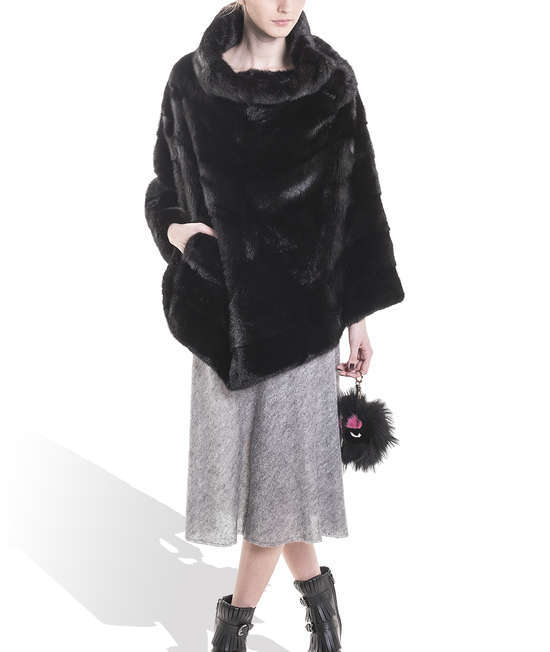 Black Mink Long Poncho