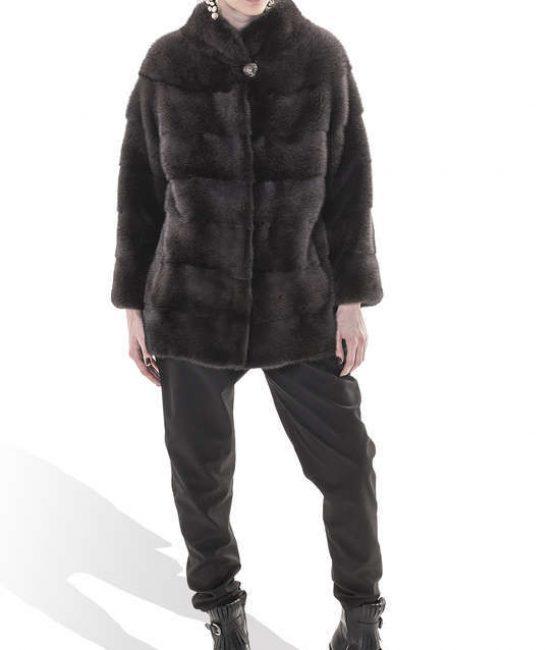 Petrol Grey Mink Coat