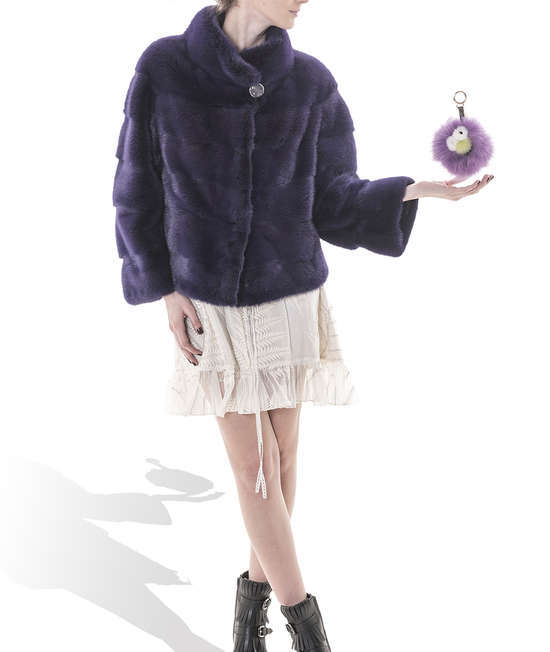 Dark Purple Short Mink Coat