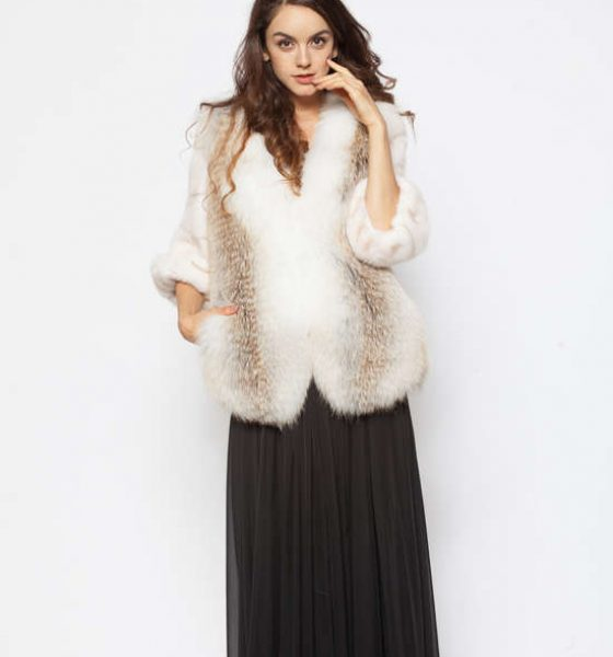 Natural fox and white mink